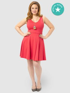 Coral Fit and Flare Dress - ABS