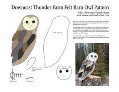 Felt Barn Owl Pattern, free pattern from Susan of Downeast Thunder Farm, a lovely blog from her small family farm in Maine.