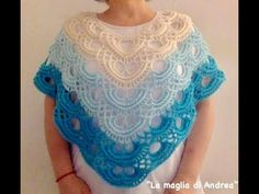 Poncho japones al crochet. - YouTube Crochet Cardigan Pattern, Knitted Poncho, Crochet Shawl, Crochet Lace, Crochet Hooks, Free Crochet, Capes & Ponchos, Crochet Videos, Shawl