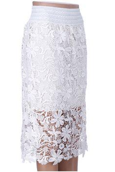 #Romwe Hollow Double-layered White Lace Skirt