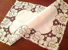 "Image result for VINTAGE HAND EMBROIDERED CUTWORK "" BUTTERFLIES "" WHITE LINEN RUNNER TABLE CLOTH"