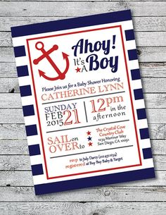 Printable Ahoy It's A Boy Baby Shower Invitation  by HillandHoney                                                                                                                                                                                 More