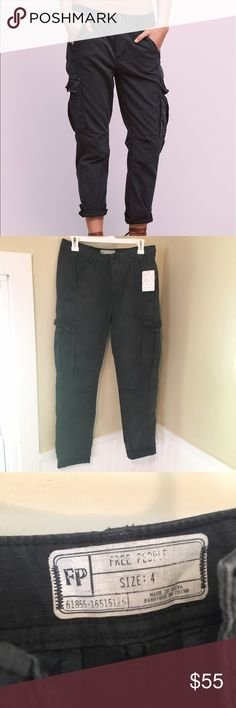 NWT Free People Wild Nothing Rugged pant, size 4 NWT Free People Wild Nothing Rugged cargo pant, size 4. The color is called black but the worn look makes them a dark gray. Button fly. Free People Pants Ankle & Cropped