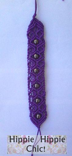 Handmade macrame purple bracelet.