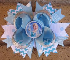 Frozen Princess Elsa Disney Inspired Custom Boutique Hair Bow for Disney World Vacation