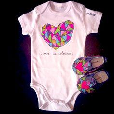 """Baby modelo """"amor de colorines"""" ropa original pintada a mano para niñ@S, un regalo especial en tallas de un mes a dos años. p.nitas* #baby #newborn"""