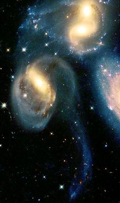 "Group Of Galaxies Called ""Stephan's Quintet."" The Quintet Is A Prototype of A Class Of Objects Known As 'Compact Groups Of Galaxies   #nasa, space, stephans quintet, galaxy,"