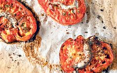 Slow roasted tomatoes with anchovy and thyme recipe are delicious with   mozzarella or a steak.