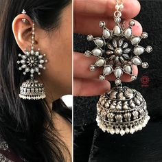 silver and zircon ring Indian Jewelry Earrings, Silver Jewellery Indian, Jewelry Design Earrings, Fashion Earrings, Bridal Jewelry, Jewelry Art, Fashion Jewelry, Silver Jewelry, Silver Ring