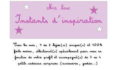 """NOUVEAUTÉ disponible dès la rentrée sur la page : La """"box"""" Instants d'inspiration, la formule 100% girly! Chaque mois, recevez une sélection de 5 articles dans un joli pochon en tissu : - 1 ou 2 bijou(x) fantaisie UNIQUE(s) et FAIT(s) MAIN (exemples de créations visibles sur la page) - 3 ou 4 surprises (accessoires cheveux, papeterie, beauté, cosmétique...) Version FEMME ou FILLE (dès 3 ans)  Bons cadeaux possibles. N'hésitez pas à me contacter pour plus de renseignements."""