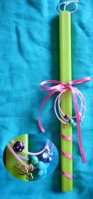 #Easter candle with caoutchouk bracelets