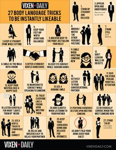 Body Language Tricks To Be Instantly Likeable: Body Language Tricks To Be Instantly Likeable: Infographic Confident Body Language, Reading Body Language, Psychology Fun Facts, Color Psychology, Psychology Notes, Psychology Experiments, Psychology Careers, Forensic Psychology, How To Read People
