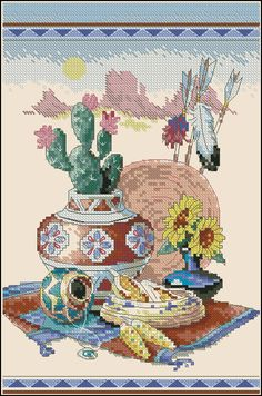Counted Cross Stitch Pattern Native Still Life Landscape Pattern Hand Embroidery Needlepoint Grand Canyon Desert Cactus Ceramic tableware Cross Stitch Needles, Cross Stitch Art, Counted Cross Stitch Patterns, Cross Stitching, Cross Stitch Embroidery, Embroidery Patterns, Hand Embroidery, Cross Stitch Pictures, Le Far West