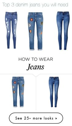 """""""Top 3 denim jeans you will need"""" by dilara-emine on Polyvore featuring Tommy Hilfiger, adidas and WithChic"""