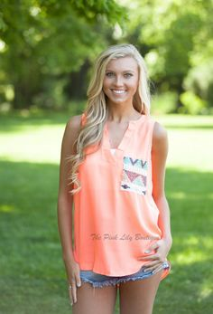 The Pink Lily Boutique - Neon Orange Sequin Blouse, $29.00 (http://thepinklilyboutique.com/neon-orange-sequin-blouse/)