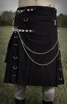 Scottish Highland Modern Gothic Men Fashion Detachable Pockets Adjustable Kilts #wckilt #ModernUtilityPocketKilt