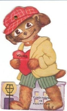 Dressed Hound Dog Mechanical Vintage Valentine by BirdhouseBooks on Etsy