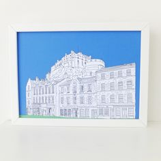 Edinburgh Print, Edinburgh Castle and Grassmarket, Blue art print, digital print, art, Scottish art, Picture of Edinburgh, Scotland by PeonyandThistle on Etsy (null)