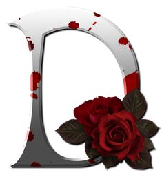 Gothic white alfabet with red rose Cute Alphabet, Alphabet And Numbers, Alphabet Letters, Decoupage, Stylish Alphabets, Minnie Png, Photoshop, Initial Letters, Illuminated Letters
