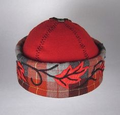 Garden Cap with acanthus leaves on plaid cuff.  Recycled! AugustPhoenix.com