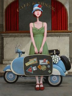 Big Dreams by Fred Calleri Vintage Illustration Art, Travel Illustration, Whimsical Fashion, Whimsical Art, Art Deco Cards, Maryland, Illustrations And Posters, Creative Skills, Artist Painting