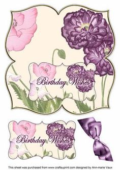 Purple Poppy Birthday Wishes 8in Large Blooms Fancy Topper on Craftsuprint designed by Ann-marie Vaux - I have designed this topper as a 8inch fancy shaped topper that is so easy to make and looks so amazing with the large blooms, using silicone glue or 3D foam add the sentiment layer to the base image on the top of a card blank and then add the bow or your own bow and embellishments to make it your own. Matching 8in Large Blooms Envelope kits are also available for you to mix and match your…