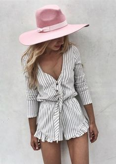 striped romper + wide brim fedora #ASILIO #lackofcolor
