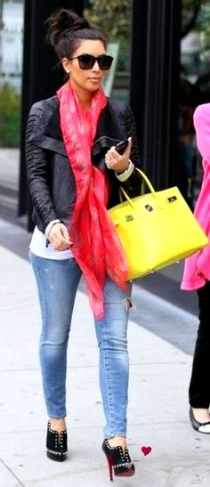 Leather jacket, white tee, light jeans, black heels, and bright color scarf and Birkin.