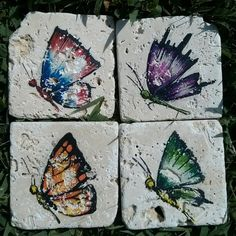 Butterfly set original art on 3 1/2 x 3 1/2  by ScribbleSketches, $28.00