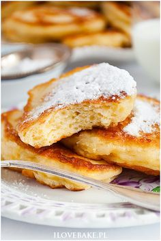Budyniowe racuchy z jabłkami - I Love Bake Pancakes, French Toast, Vegetarian, Breakfast, Ethnic Recipes, Cement, Food, Diets, Meal