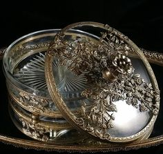 Glass Filigree Divided Dresser Trinket Box by OldGLoriEstateSale