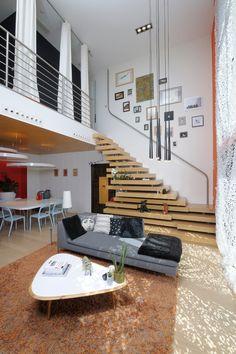 Moderno, casa, sala, escadaria