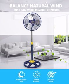 New style blue 10'' stand fan with adjust the height