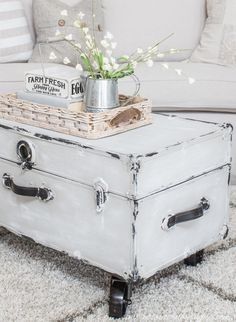 I am soooo excited to show you this month's flip. Of course I'm always excited to share my thrifted gems with you al Painted Trunk, Funky Painted Furniture, Decoupage Furniture, Reclaimed Furniture, Painted Chairs, Furniture Making, Diy Furniture, Painting Furniture, Painted Coffee Tables