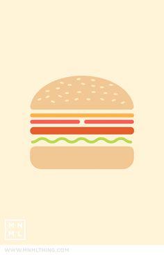 #62 Hamburger / Spencer Harrison #simple #graphic #pictorial #hamburger #lettuce #tomato #cheese #sesame #bun #colour