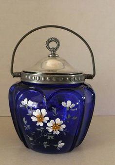 Victorian Cobalt Blue Biscuit Jar