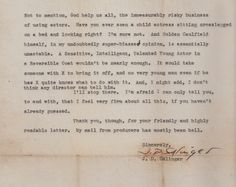Salinger's Letter to Mr Herbert turning down the sale of Catcher in the Rye to Hollywood.