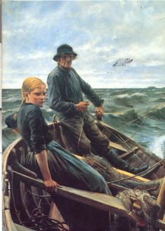 """Albert Edelfelt """"At Sea"""" was considered the best work of the Nordic region of the year Portrait Art, Portraits, Sea Pictures, Hermitage Museum, Boat Painting, Sea Art, Art Database, Love Art, Art Photography"""