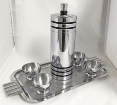 Deco Chase Gaiety Cocktail Shaker + 4 Cups + Unknown Tray 1930s Vintage Barware | eBay $99