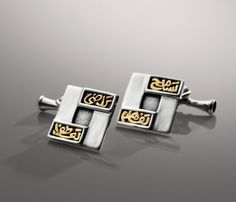 18ct Gold and Sterling Silver Cuff-links for Men decorated with words of calligraphy.  #azzafahmy #jewellery #jewelery