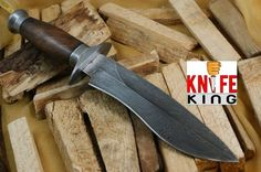 "Amazon.com : Knife King ""Cobra"" Damascus Handmade Bowie Hunting Knife. Comes with a sheath. : Sports & Outdoors"