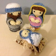 A child is born. Crochet nativity