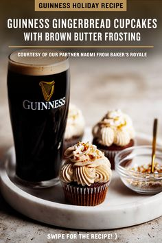 For stout season, we teamed up with Naomi from Baker's Royale for a Guinness Gingerbread Cupcakes recipe to help sweeten your winter. Topped with brown butter frosting, it's the perfect holiday recipe to pair with the caramel notes in Guinness Draught. Cupcake Recipes, Cupcake Cakes, Dessert Recipes, Fruit Dessert, Dessert Bread, Holiday Baking, Christmas Baking, Brown Butter Frosting, Delicious Desserts
