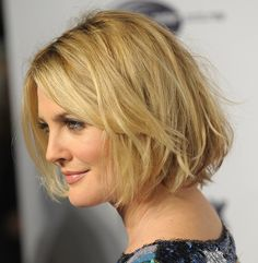 Drew Barrymore's Bob.  The style is all one length except for shorter pieces in the front (face-framing layers)  I feel like I've repinned Drew's Bob a few times...maybe I've just liked it a hundred times...come on bangs, grow out!