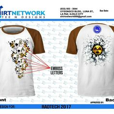 I was approached to create a lay out for my department so This is my radtech t shirt design for the  school year 2015-2016.. Iloilo doctors college,Iloilo City, Philippines