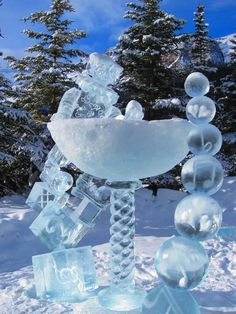 Ice Sculptures during the Ice Magic Festival in Banff National Park, Alberta, Canada.