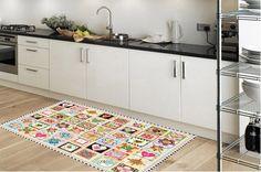 Kitchen rug -  model stamps - suitable for kitchen, bathroom, entrance, garden / Floor & Rugs / kitchen floor mat / kitchen mat by Printip on Etsy