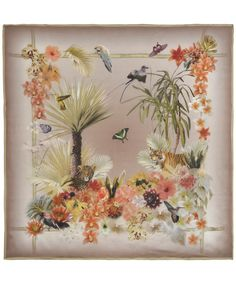 KHAKI JUNGLE PRINT SILK SCARF, LIBERTY LONDON