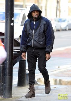 Kanye West in the adidas Yeezy Season 1 Boots Kanye West Outfits, Kanye West Style, Yeezy Season 1, Celebrity Sneakers, Rapper Outfits, Streetwear Fashion, Streetwear Men, Stylish Mens Outfits, What To Wear