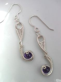 Amethyst Wire Wrap Earrings  By:- peacebirdstudio